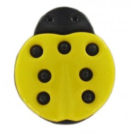 Polyester button, ladybird - yellow