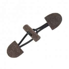 Felt-fabric Toggle duffle fastener with small log - brown