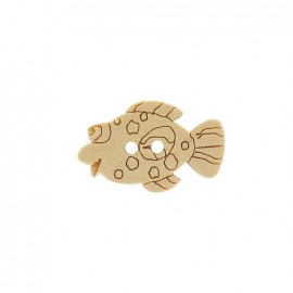 Wooden button, fish - beige