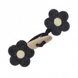 Felt-fabric Toggle duffle fastener, flower - black