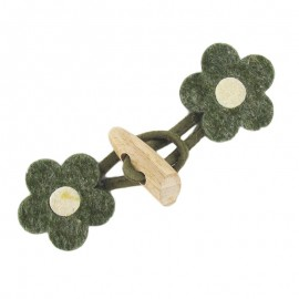 Felt-fabric Toggle duffle fastener, flower - green
