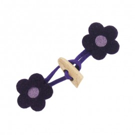 Felt-fabric Toggle duffle fastener, flower - purple