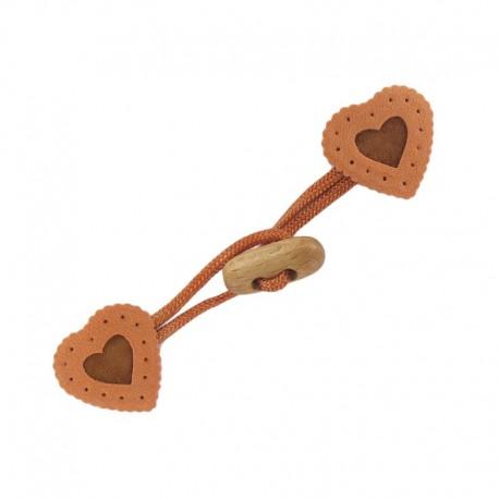 Toggle duffle fastener, velvet touch, heart - copper
