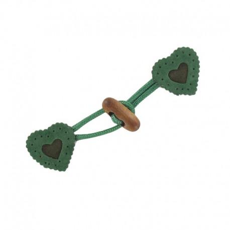 Toggle duffle fastener, velvet touch, heart - green