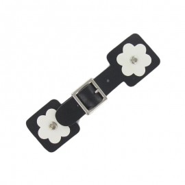 Toggle duffle fastener, square flower - black/white