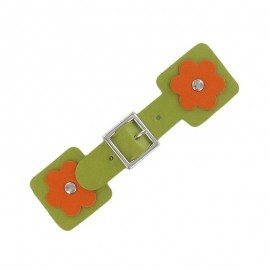 Toggle duffle fastener, square flower - green/orange