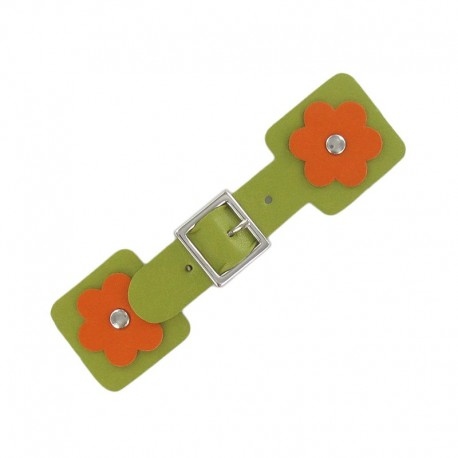 Toggle duffle fastener, square flower - green/orange