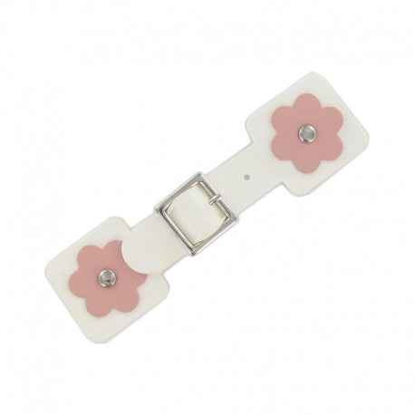 Toggle duffle fastener, square flower - white/pink