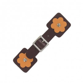 Toggle duffle fastener, square flower - brown/orange