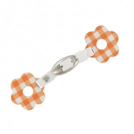Toggle duffle fastener, gingham flower - orange