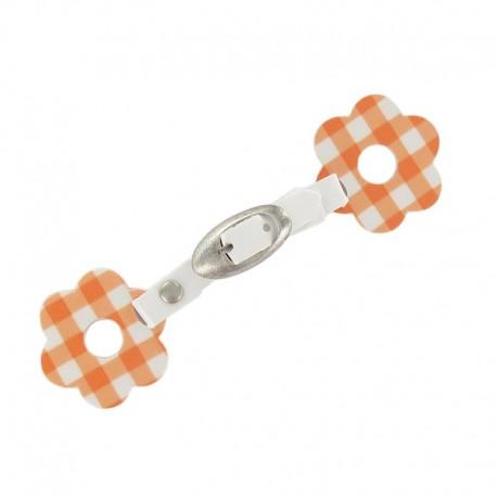 Toggle duffle fastener, gingham flower - orange