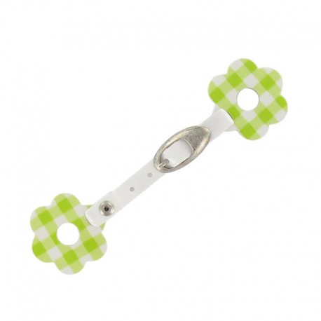 Toggle duffle fastener, gingham flower - green