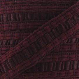 Soutache stitched gimp braid trimming - burgundy