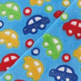Tissu Doudou voitures multi bleu x 10cm