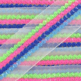 Tulle and sequins braid trimming, Seaside x 50cm - multicolored