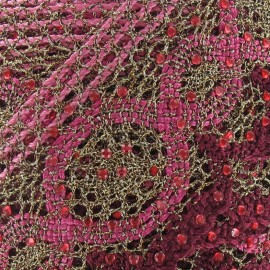 Lurex Lace ribbon  with rhinestones x50 cm - pink