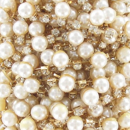 Beads and rhinestones braid trimming x 50cm - golden
