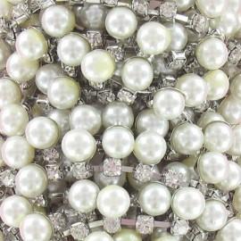 Galon perles et strass argenté x 50cm