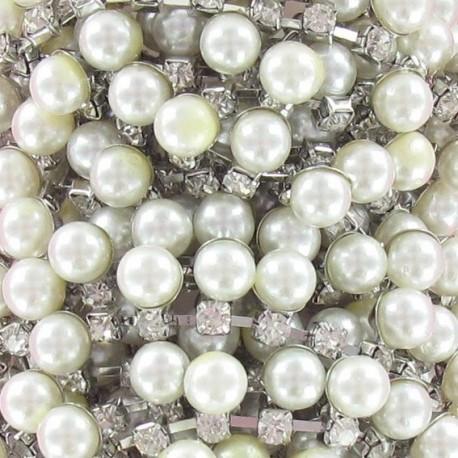 Beads and rhinestones braid trimming x 50cm - silver