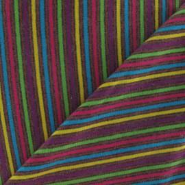 Tissu jersey multi rayures 2 mm sur fond fuchsia x 10cm
