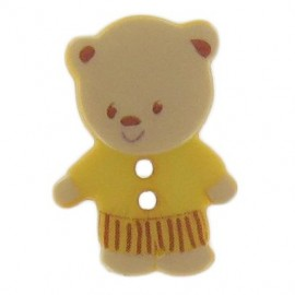 Polyester button, sweet little bear - yellow