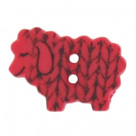 Polyester button, graphic sheep - red