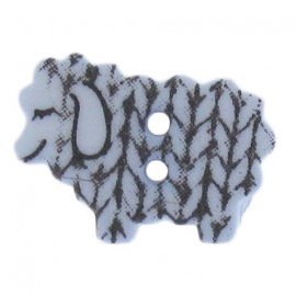 Polyester button, graphic sheep - blue