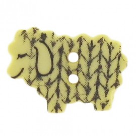 Polyester button, graphic sheep - yellow