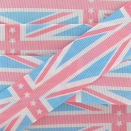 Grosgrain aspect Ribbon, Union Jack Stars - Pink/Blue