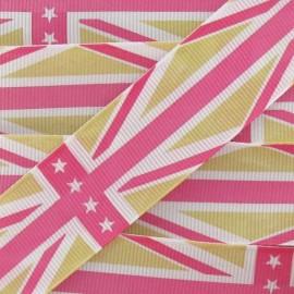 Grosgrain aspect Ribbon, Union Jack Stars - Pink/Beige
