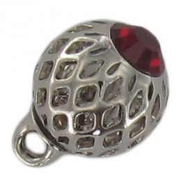 Bouton métal ajouré strass rouge