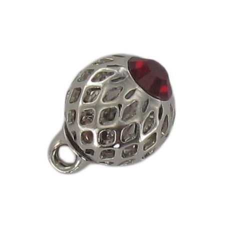 Metal button, hemstitched rhinestone - red/silver