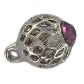 Bouton métal ajouré strass violet