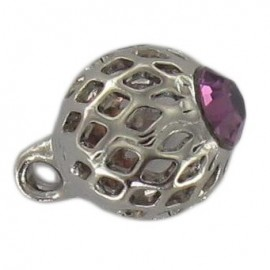 Metal button, hemstitched rhinestone - purple/silver