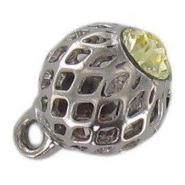 Bouton métal ajouré strass jaune