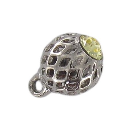 Metal button, hemstitched rhinestone - yellow/silver