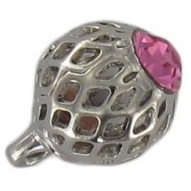 Metal button, hemstitched rhinestone - pink/silver