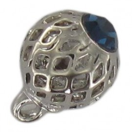 Metal button, hemstitched rhinestone - blue/silver