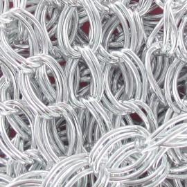 Chaine à gros maillons doubles métal argenté