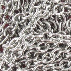 Chaine à maillons 7-8 mm métal argenté foncé