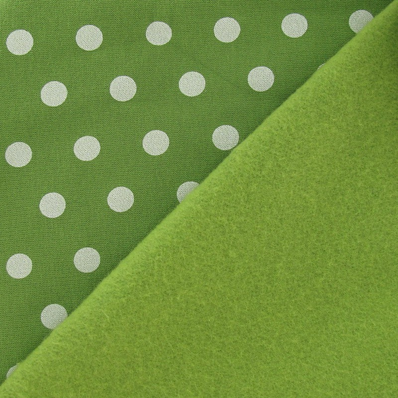 tissus pas cher tissu sweat pois blanc fond vert mousse. Black Bedroom Furniture Sets. Home Design Ideas