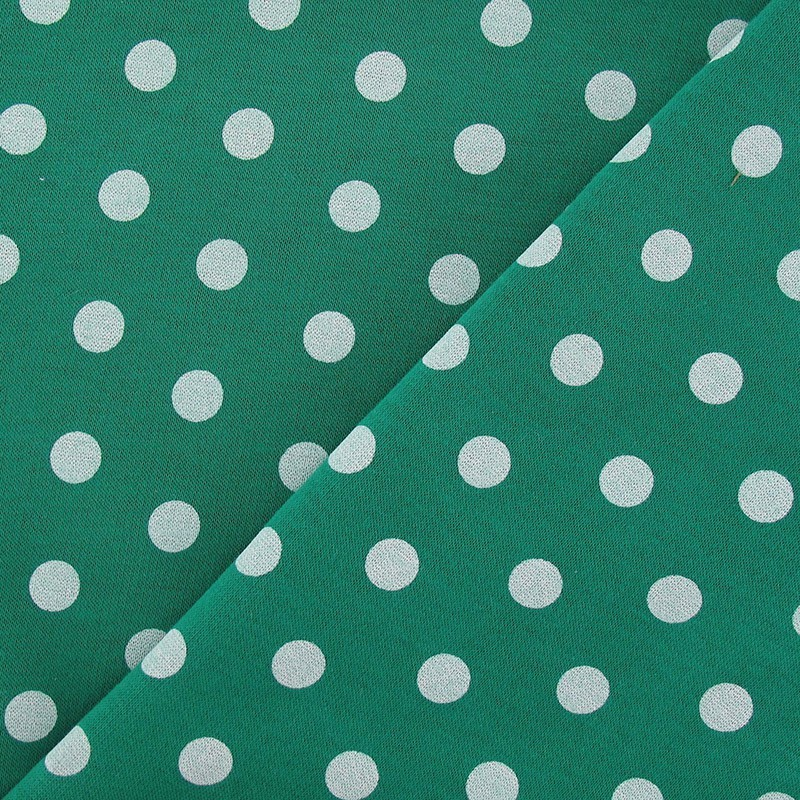 tissus pas cher tissu sweat pois blanc fond vert prairie. Black Bedroom Furniture Sets. Home Design Ideas