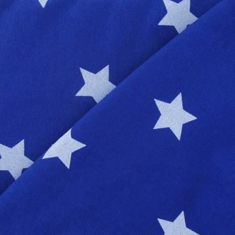 Sweat Fabric - White Stars / Royal Blue x 10cm