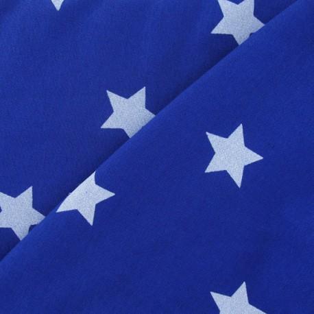 Tissu sweat étoiles blanches fond bleu roy x 10cm