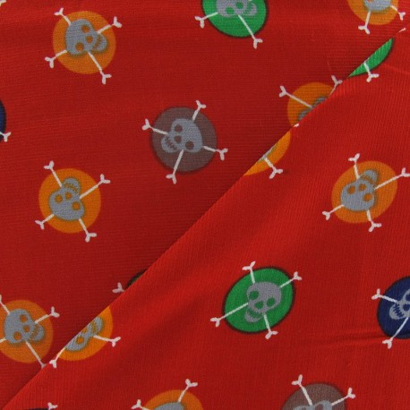 Skulls milleraies velvet fabric -red x 10cm