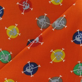 ♥ Coupon tissu 60 cm X 140 cm ♥ Skulls milleraies velvet fabric - orange