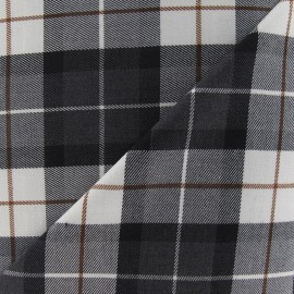 Scottish tartan fabric - grey anthracite/white x 10cm