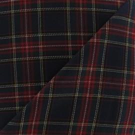 Scottish tartan fabric - navy/Carmin/yellow x10cm