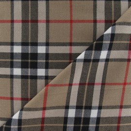 Tartan écossais fabric - sand/black/white x10cm
