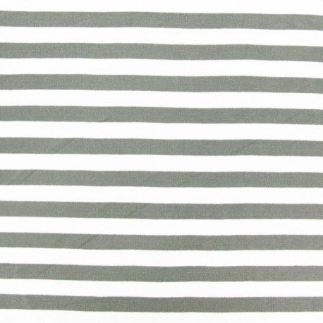 Jersey fabric with stripes V2  - pearl grey x 10cm